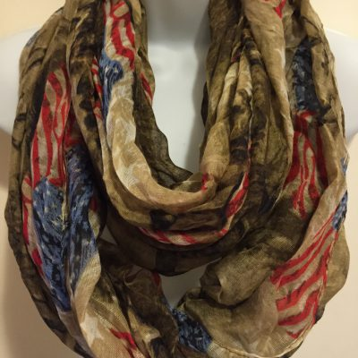 D&Y Running Horse USA Flag Print Figure 8 Scarf