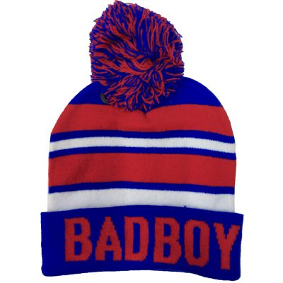 "Pom Pom Beanie ""BAD BOY""  #R165Q"