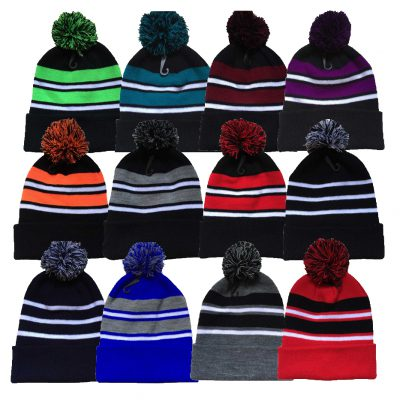 Striped Pom Beanie Ass Colors(Pcs) #2POMPCS