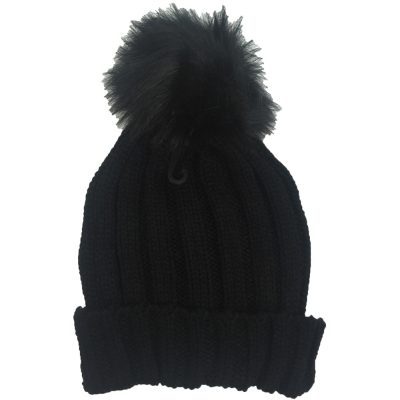 Fur Ball Ski Hat (Black) #2QQBL