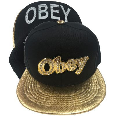 "Snapback Metal with Diamond ""OBEY""  #204GS"
