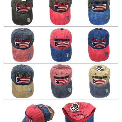 "100%Cotton ""PUERTO RICO+FLAG"" Hats  #SX198"
